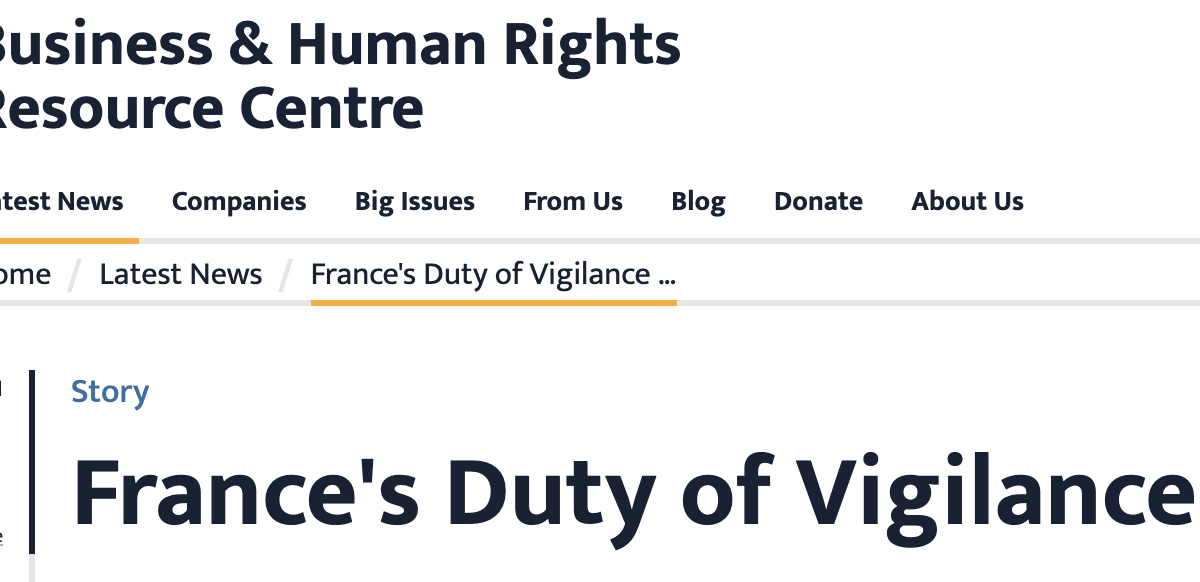 France duty of vigilance law